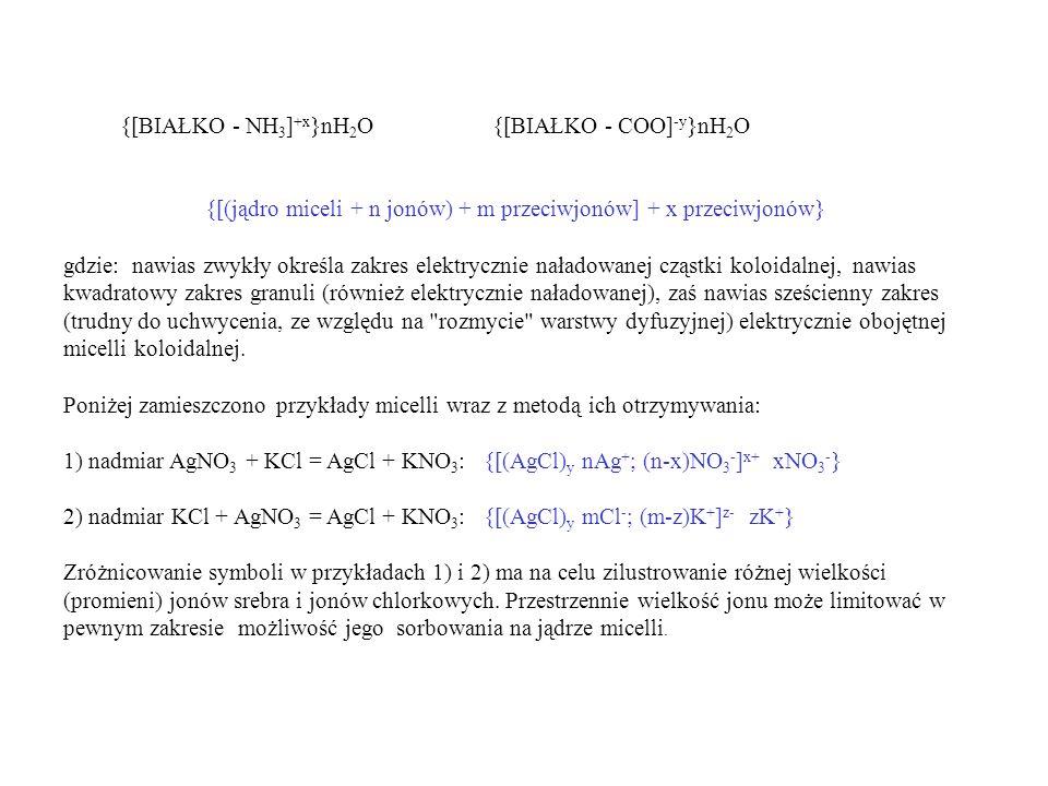 {[(jądro miceli + n jonów) + m przeciwjonów] + x przeciwjonów}